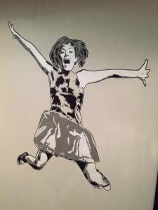 #Gunda on display at #mathalltrondheim, 3 layer stencil mural.