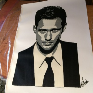 """Skarsgård"" 3 layer stencil on italian canvas. 50x60."
