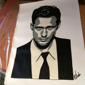 """Skarsgård"" 3 layer stencil on italian canvas. 50x60."